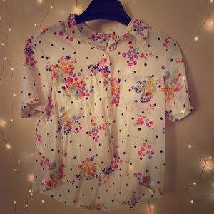Cropped button up polka dot and floral shirt.